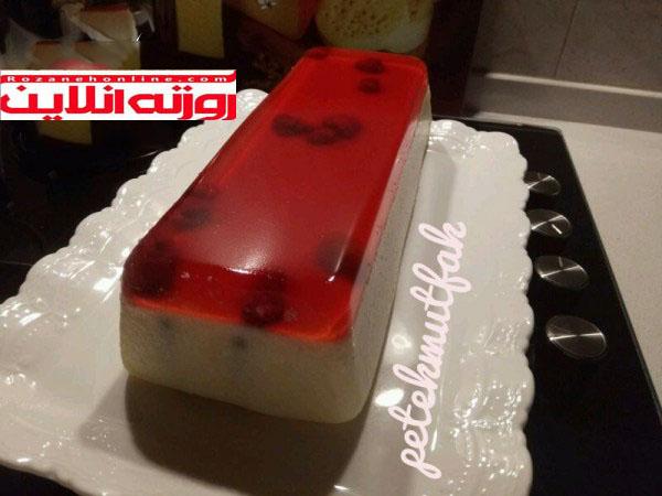 روش پخت دسر ایرمیک با ژله توت فرنگی