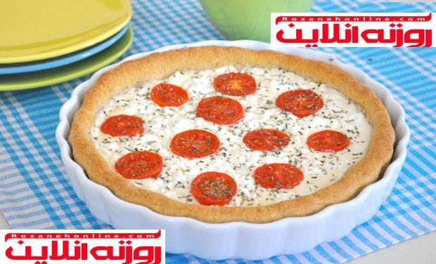 طرز درست کردن کیش پنیر و گوجه فرنگی