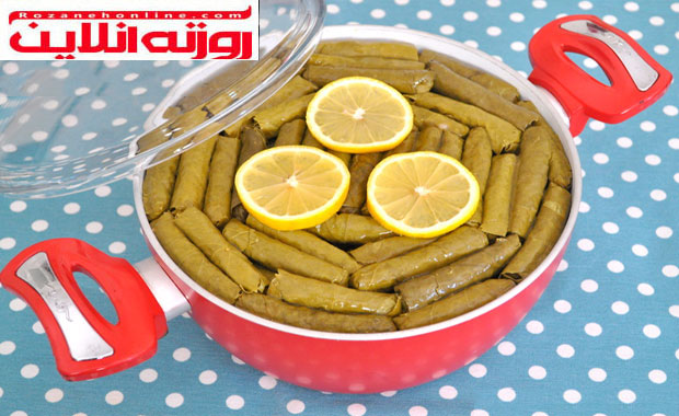 طرز تهیه دلمه برگ مو با استفاده از روغن زیتون با متد ترکیه