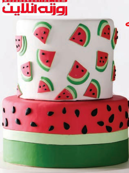 طریقه درست کردن کیک هندوانه فوندانت مخصوص تولد یلدا