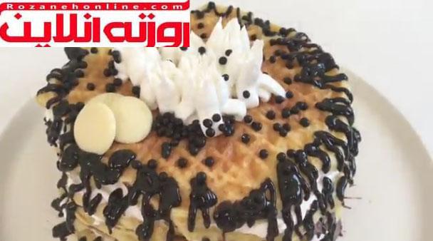صفرتا صد تهیه کیک وافل با استفاده از کرم شانتی