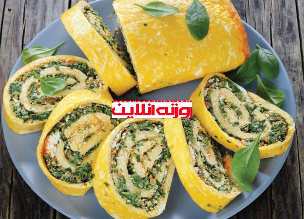 املت از نوعی دیگر : آموزش رولت تخم مرغ با فیلینگ سبزیجات